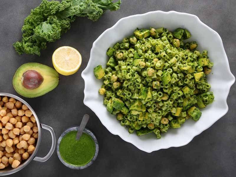 Ditalini Pasta Salad with Lemony Kale Pesto & Chickpeas