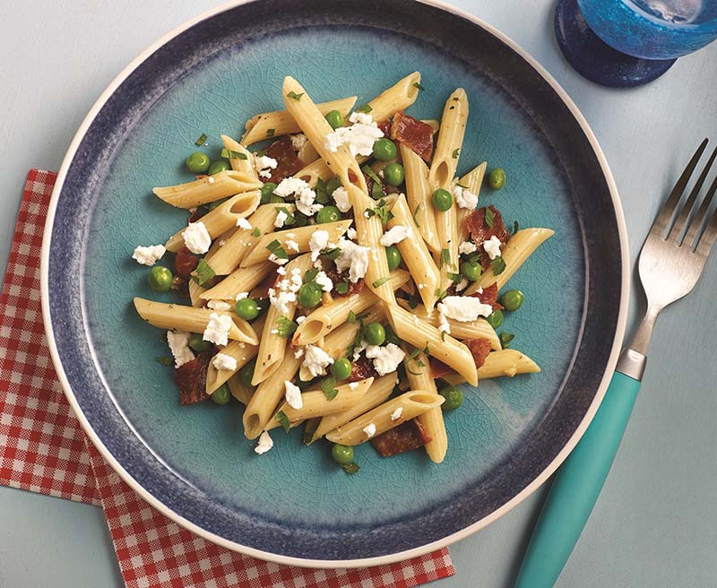 Penne Pasta with Peas, Pancetta and Feta Recipe