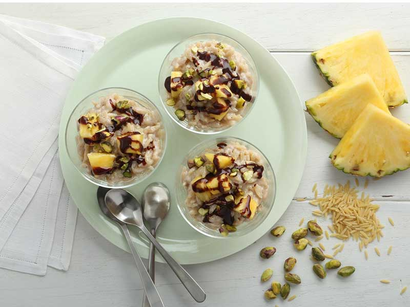 Pineapple & Pistachio Pudding with Chocolate Sauce