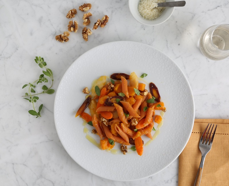Red Lentil Penne Pasta Recipe with Butternut Squash