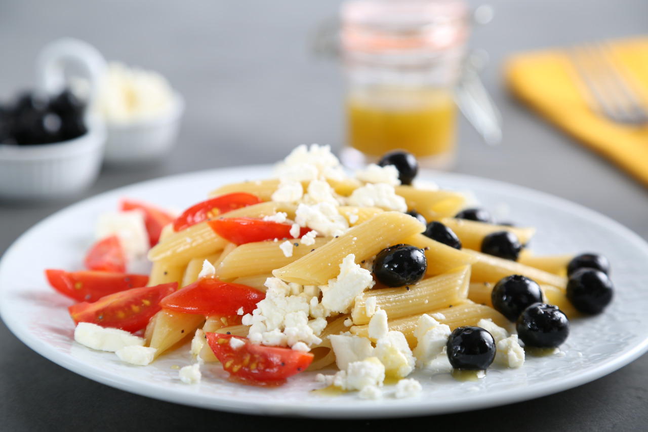Red, White and Blue Pasta Salad with Blueberries, Cherry Tomatoes and Feta Recipe