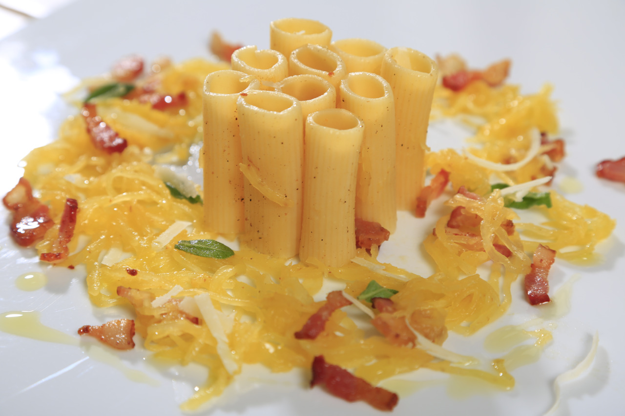 Rigatoni and Spaghetti Squash, Sage and Hickory Smoked Bacon