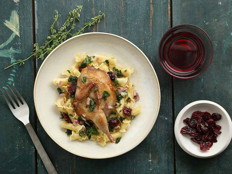 Roasted Quail with Dried Cherries & Cherry Vinegar Gastric