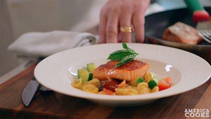 Orecchiette Pasta with Salmon, Tomatoes and Zucchini Recipe