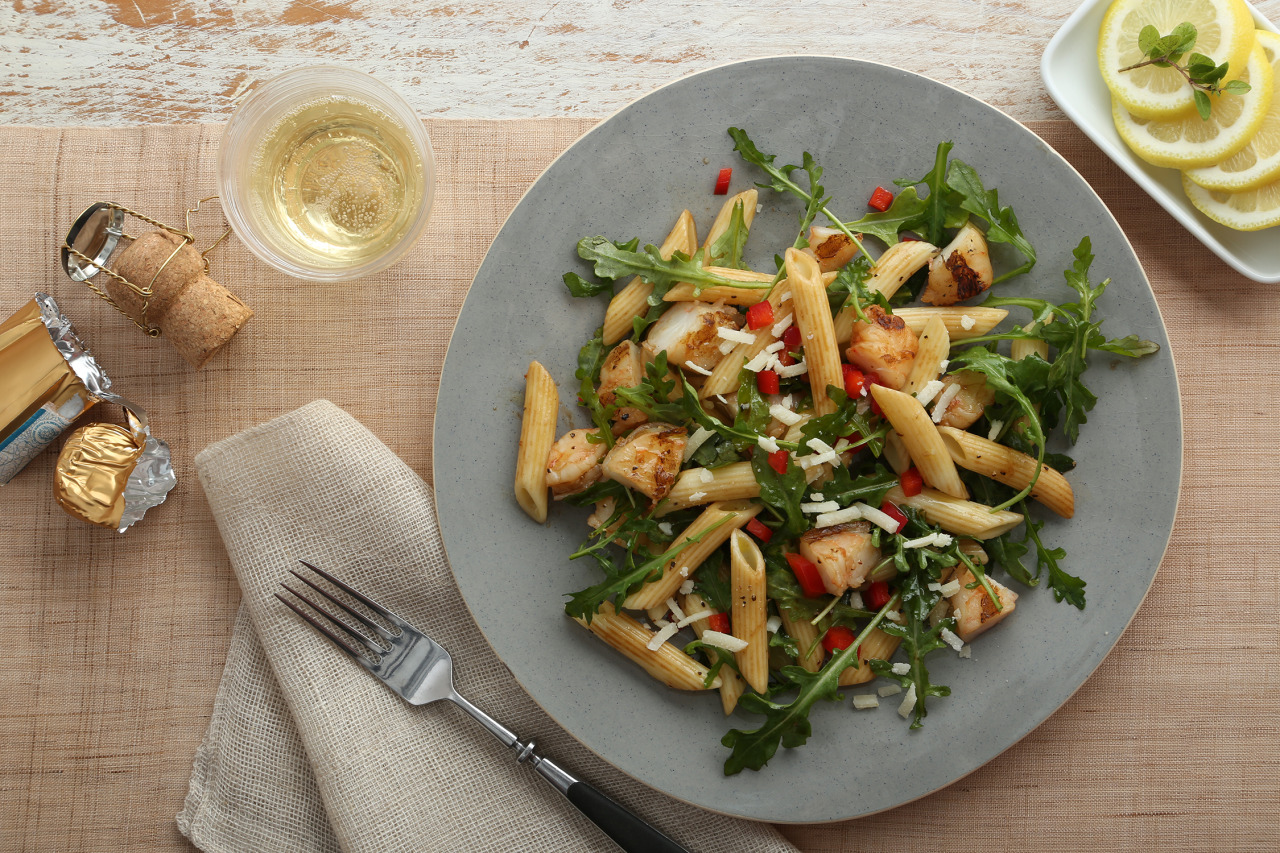 Grilled Shrimp Penne with Prosecco Vinaigrette Recipe