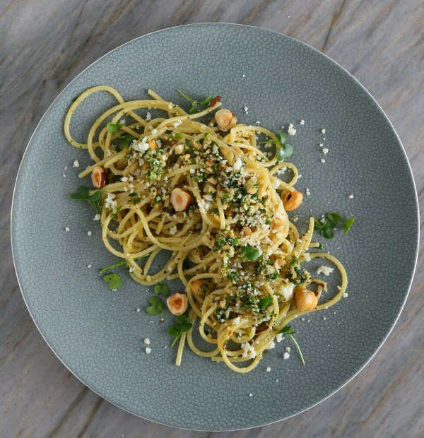 Spaghetti Recipe with Homemade Micro-Kale-Roasted-Shallot-Hazelnut Pesto