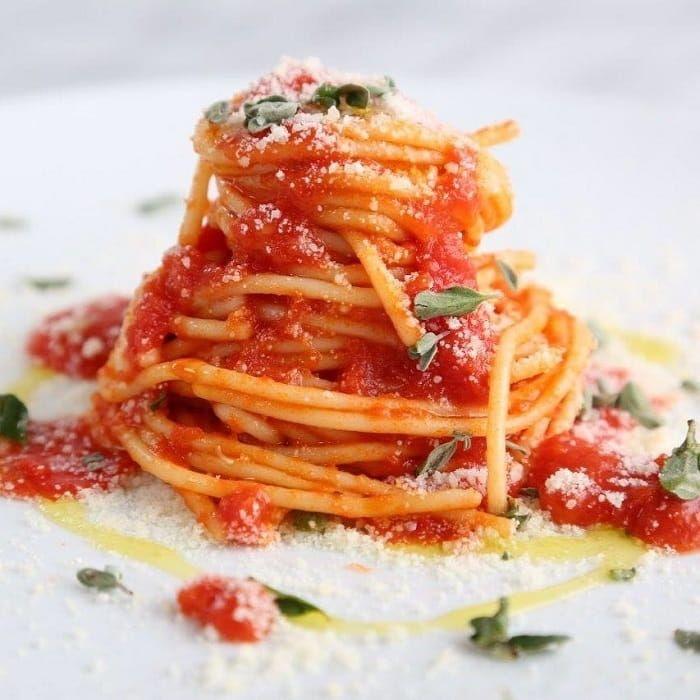 Spaghetti Recipe with Marzano Tomato Sauce, Garlic, Oregano and Romano Cheese