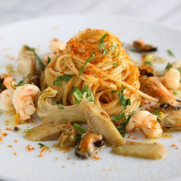 Spaghetti Recipe with Mussels, Clams, Shrimp, Artichokes and Bottarga