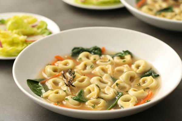 Cheese & Spinach Tortellini Soup with Thyme Chicken Bone Broth