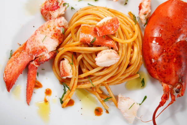 Thick Spaghetti with Steamed Lobster & Marsala Wine Sauce
