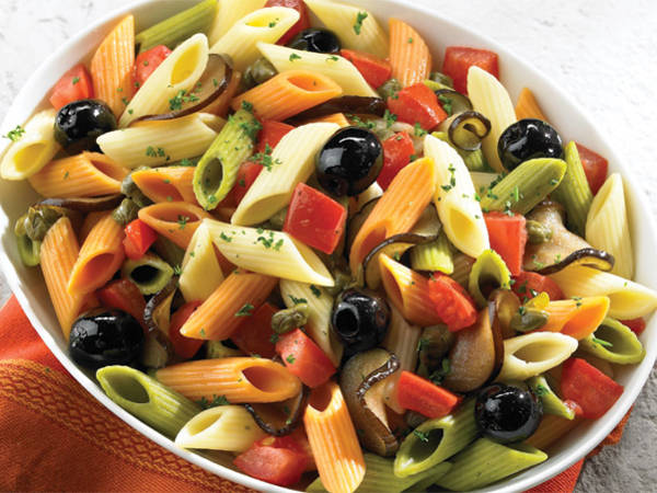 Cold Tri-Color Penne Pasta Salad with Olives & Eggplant