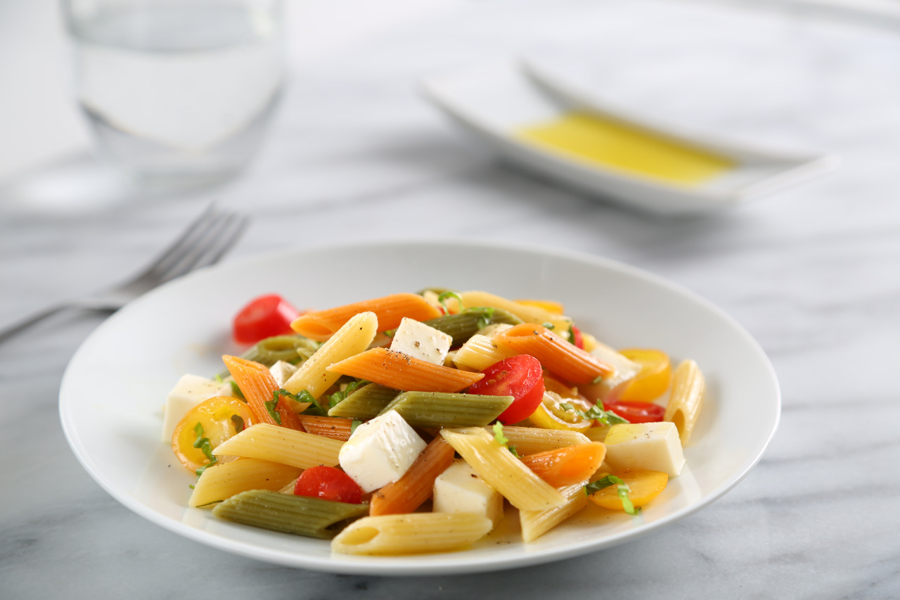 Tri Color Penne Caprese Pasta Salad