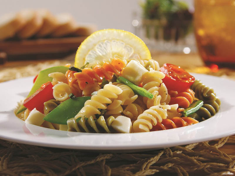 Tri-Color Rotini Pasta Salad with Cherry Tomatoes