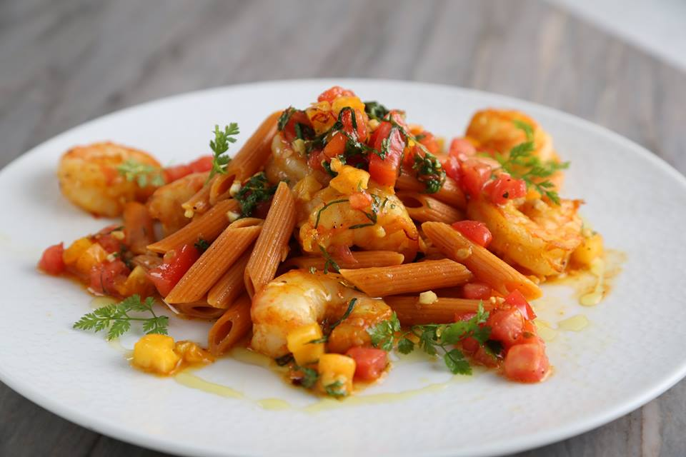 Barilla Veggie Penne Pasta Salad Recipe with Shrimp, Saffron, Paprika and Crispy Panko