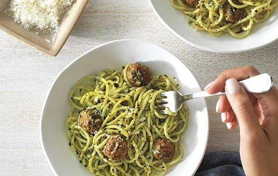 barilla spaghetti meatballs pesto