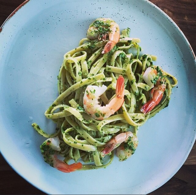 Fettuccine Spicy Cilantro Pesto and Shrimp