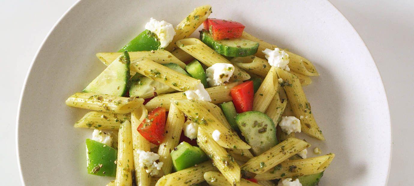 Pesto Mediterranean Pasta Salad Recipe