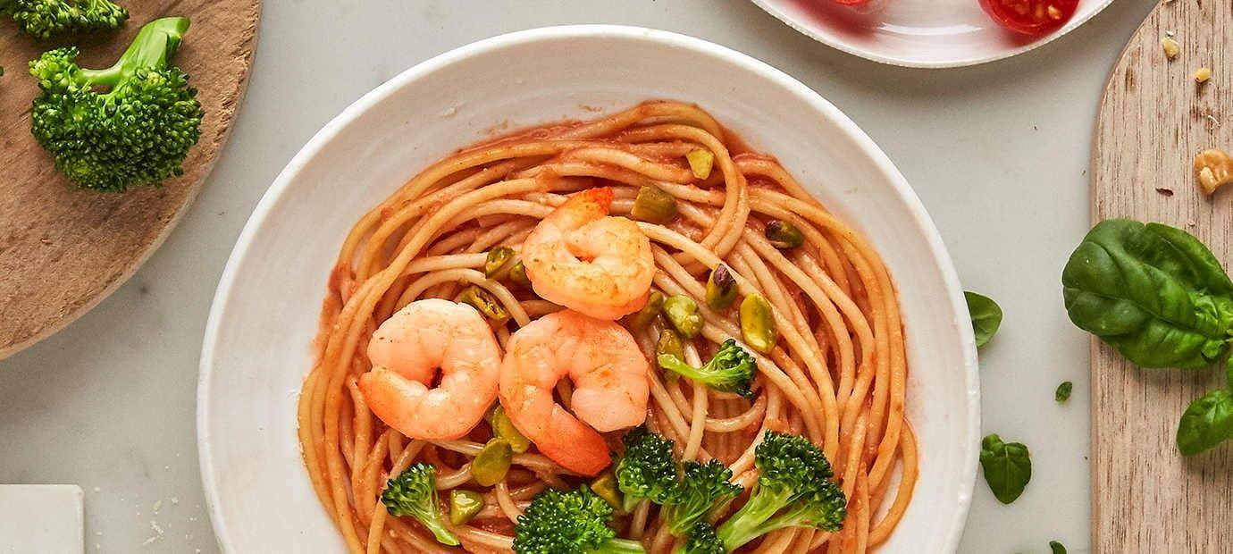 Spicy Shrimp Pasta in Garlic Cream Sauce recipe