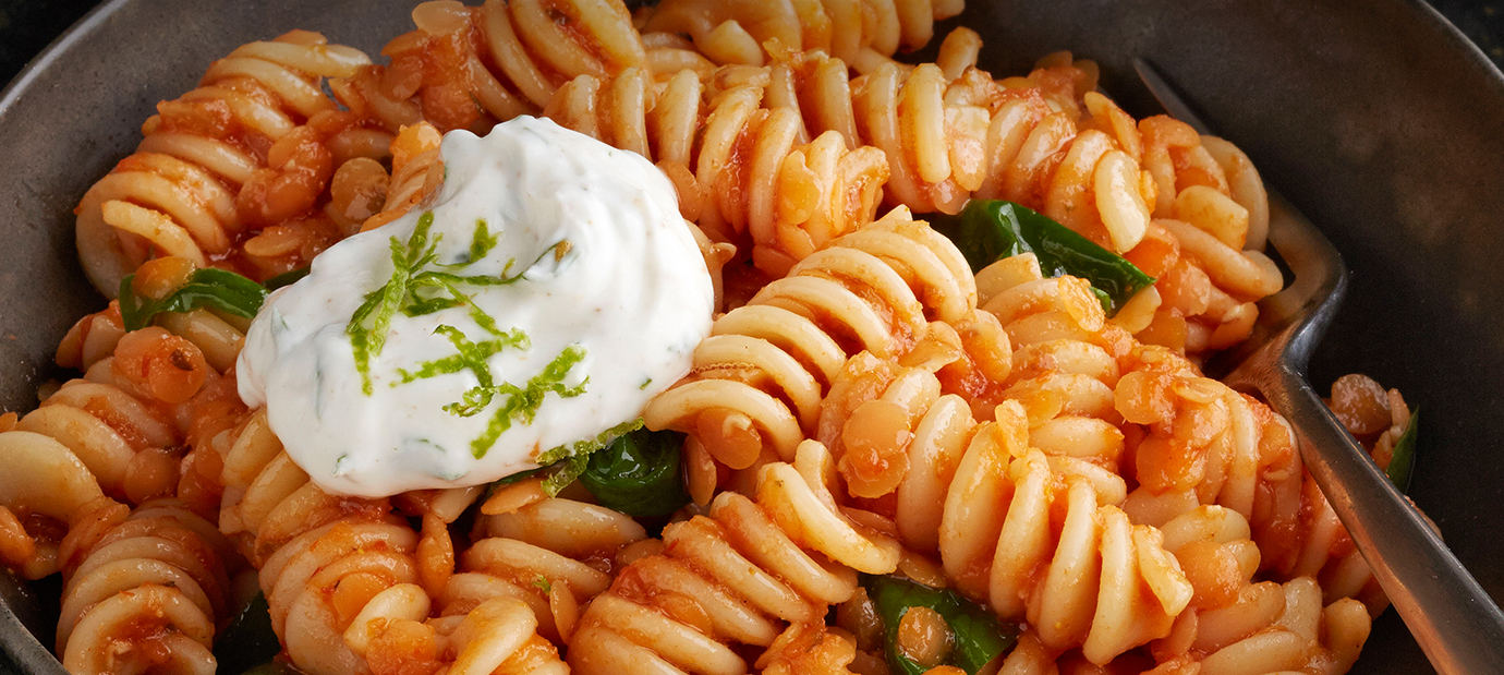 Blue Box and Sauce Rotini with Curried Red Lentil Ginger