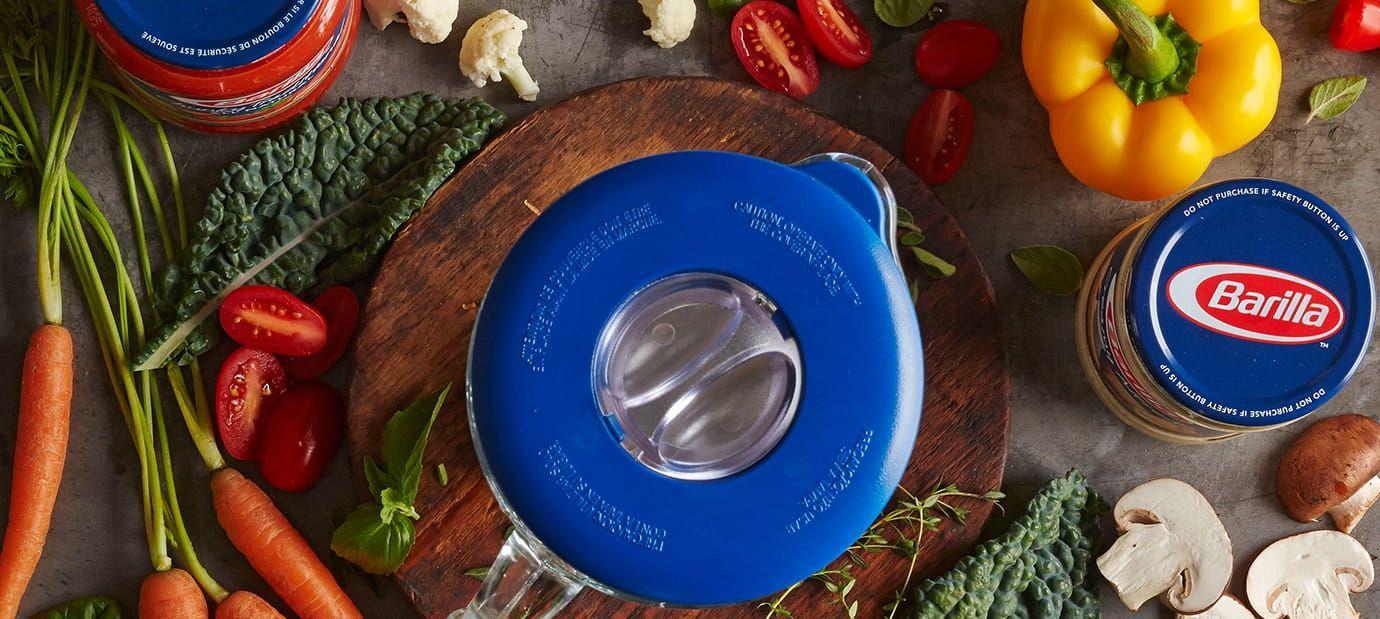 Blender with Barilla jar sauces