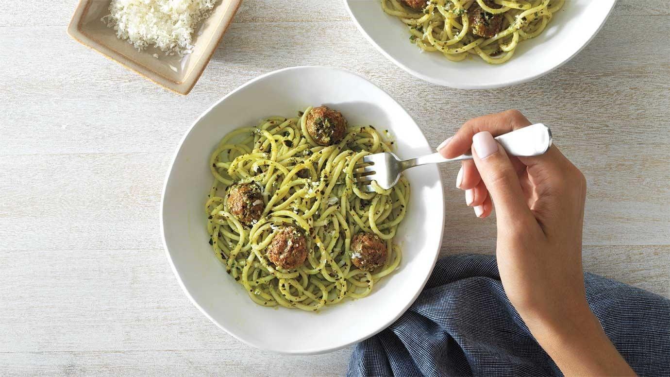 Pesto Spaghetti & Meatballs recipe