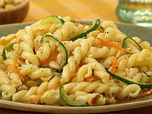 gemelli with vegetables and parmesan cheese