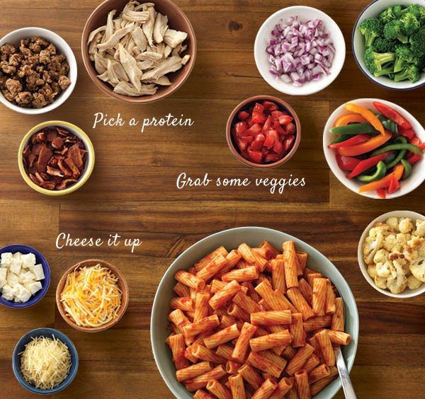 Pasta Bar with Ingredients