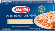 barilla oven ready lasagne package