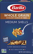 barilla whole grain medium shells pasta package