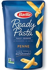 ready pasta penne package new label removed