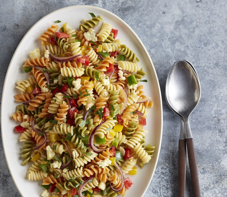 Barilla Tri Color Rotini with Bell Peppers and Gorgonzola Cheese
