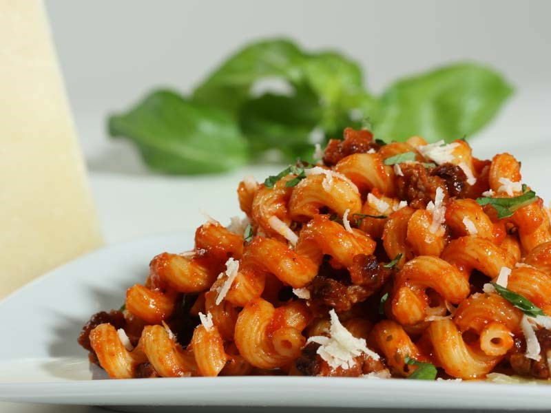 cellentani with Italian sausage and tomato basil sauce