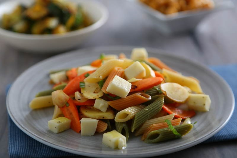 barilla tri color penne pasta salad recipe with roasted carrots parsnips fresh mozzarella basil