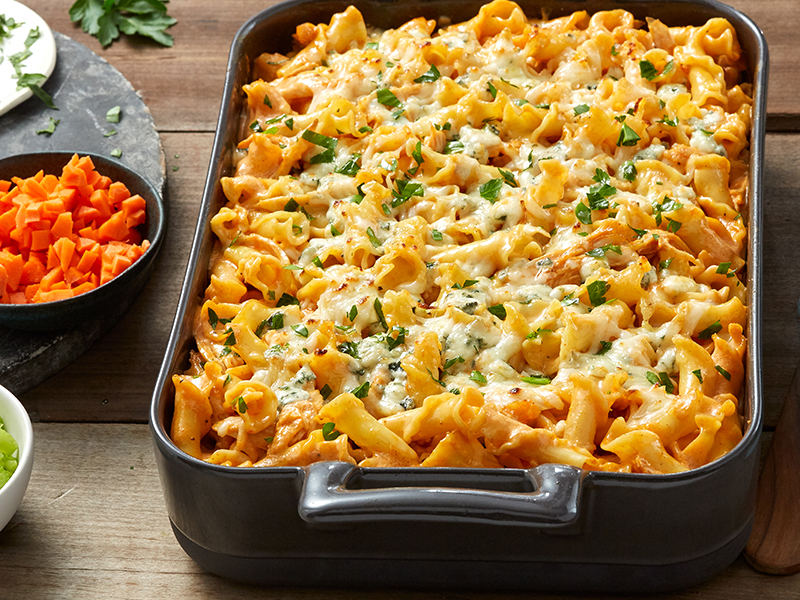 Campanelle pasta with buffalo chicken and blue cheese pasta bake recipe