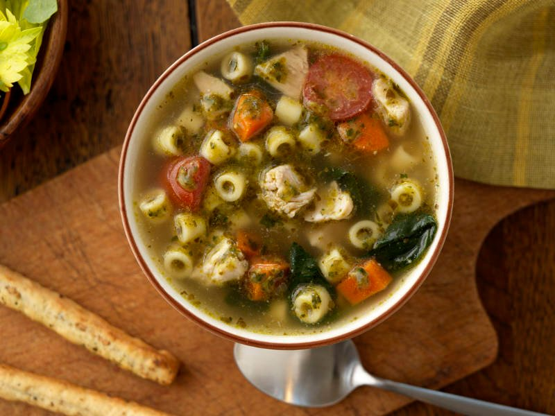 Barilla Ditalini with Basil Pesto Chicken Soup recipe