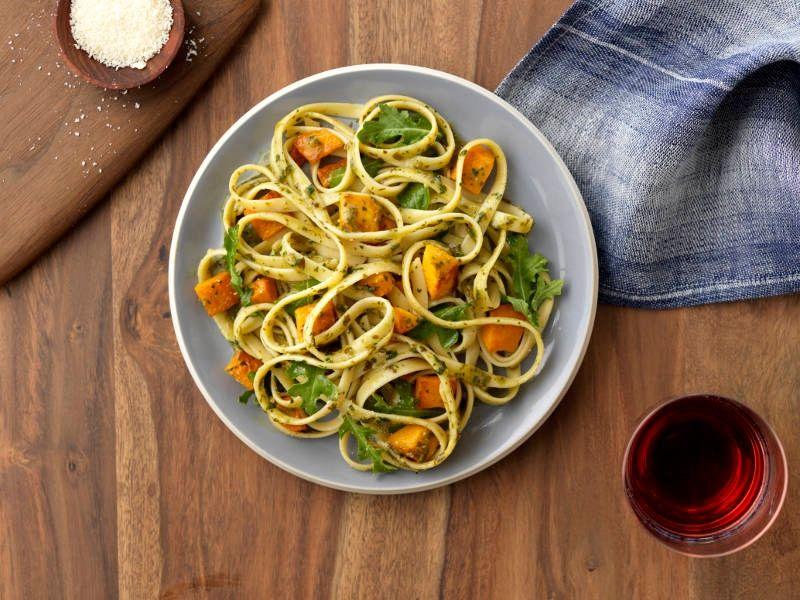 Fettuccine with Basil Pesto, Arugula, Butternut Squash & Asiago Cheese