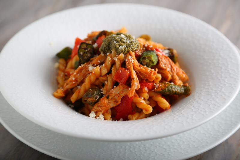 Barilla Gemelli Pasta with Spicy Chicken, Roasted Red Peppers, Okra & Basil Pesto