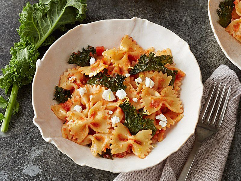 Barilla farfalle toss with goat cheese
