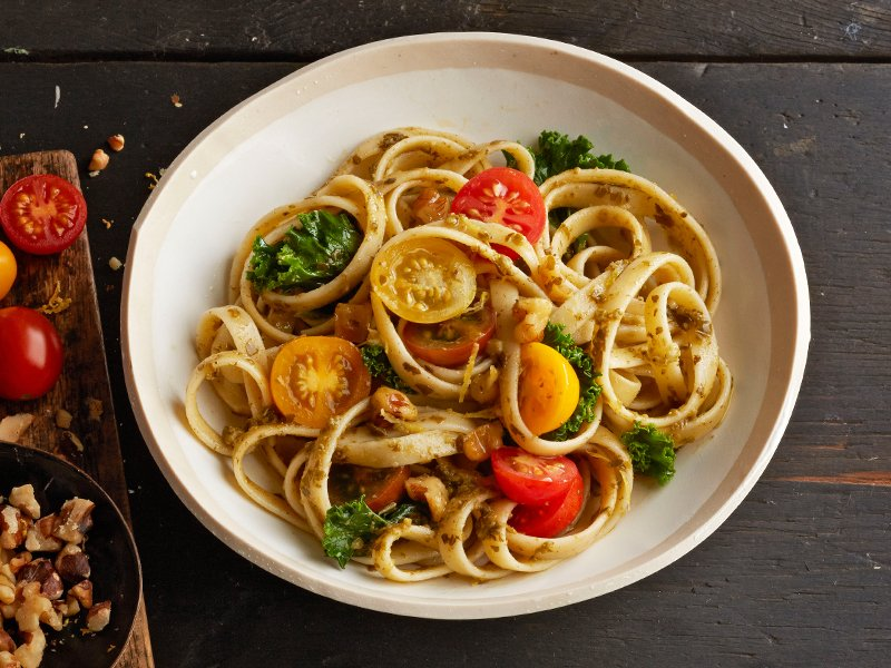 Barilla fettuccine with kale pesto