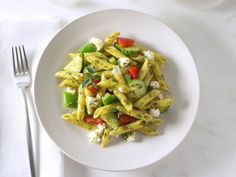 Pesto Mediterranean Pasta Salad with Blue Box Penne