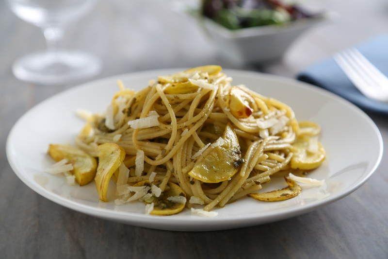 Barilla Spaghetti with Yellow Squash, Barilla Pesto & Parmigiano Cheese Recipe