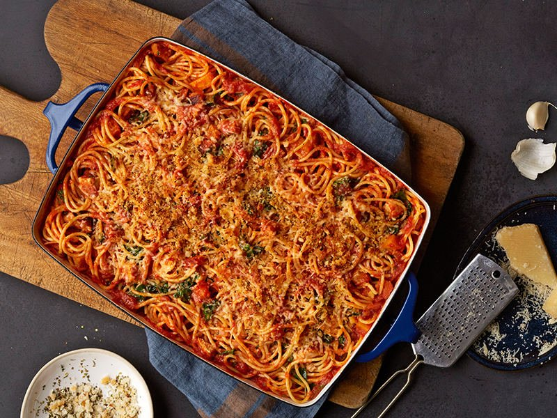 Barilla Spaghetti with Traditional Sauce and Chicken Parm Harvest Bake