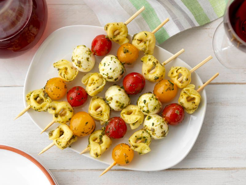 Three Cheese Tortellini Pesto Caprese Skewers recipe