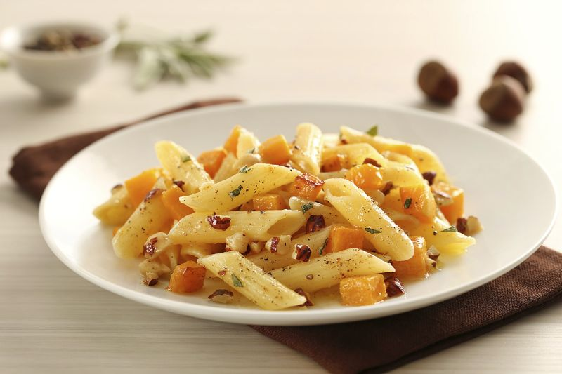 Barilla gluten free penne pasta with roasted butternut squash