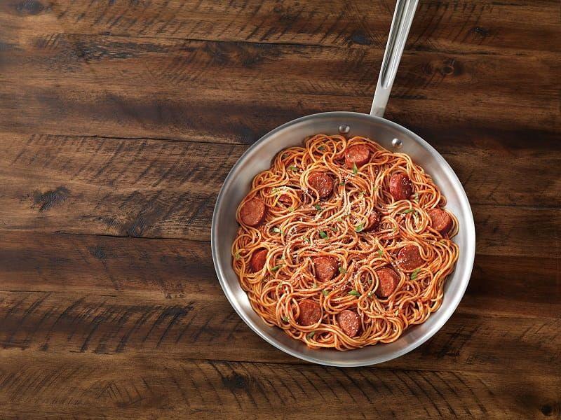Barilla Pronto one pan spaghetti with sausage recipe