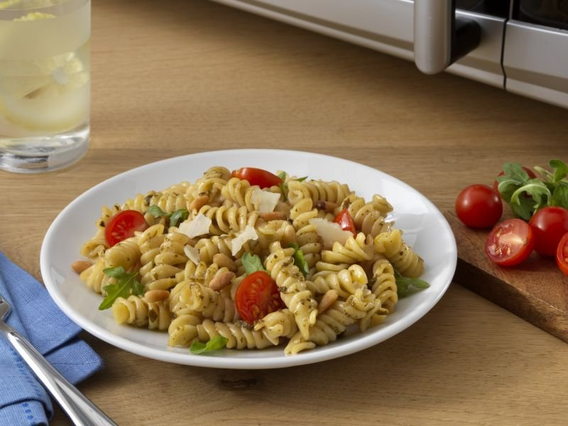 Ready Pasta Rotini recipe with pesto arugula and tomatoes