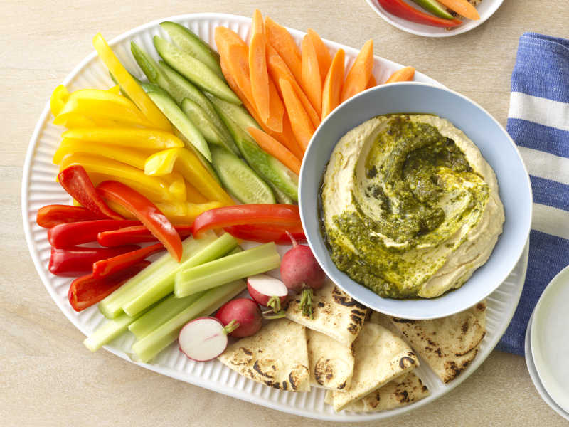Barilla Basil Pesto Hummus with veggies recipe