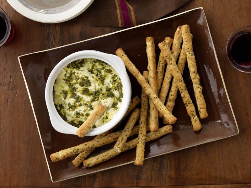 Barilla Pesto with Cheese Dip and Breadsticks