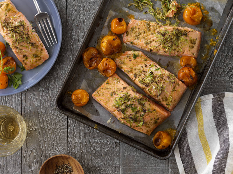 Pan Baked Salmon with Barilla Traditional Basil Pesto recipe