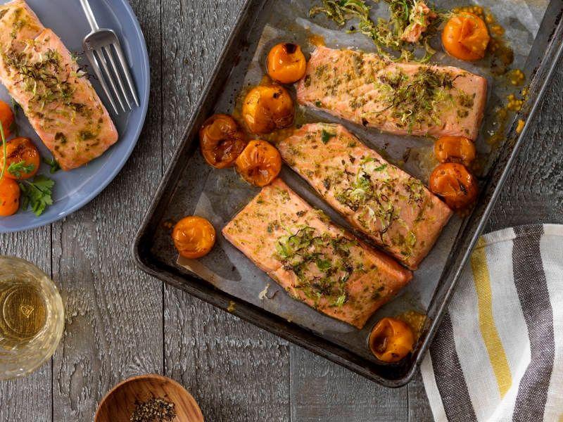 Pan Baked Salmon with Barilla Traditional Basil Pesto recipe